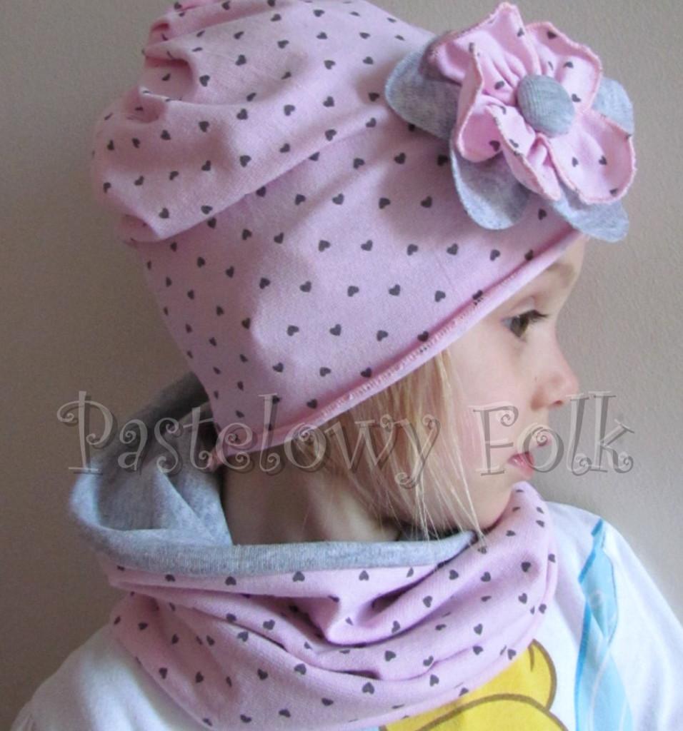 dziecko-czapka 71- komin opaska komplet, szara, różowa w serduszka brązowe kwiat retro-08