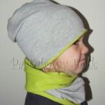 dziecko-czapka 72- komin opaska komplet, szara,zielona seledynowa dzianinowa beanie dla chłopca dziewczynki-02