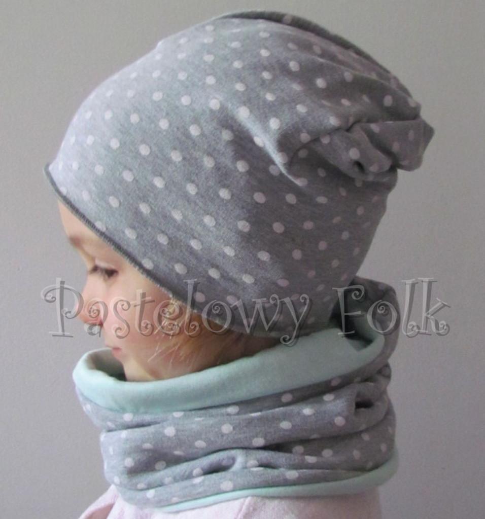 dziecko-czapka 73- komin opaska komplet, szara w kropki grochy,miętowa pastelowa beanie dla chłopca dziewczynki retro kwiat-01