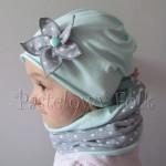 dziecko-czapka 73- komin opaska komplet, szara w kropki grochy,miętowa pastelowa beanie dla chłopca dziewczynki retro kwiat-03