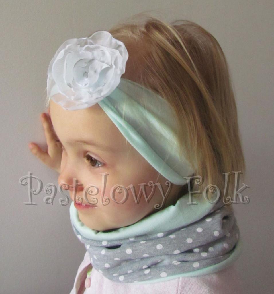 dziecko-czapka 73- komin opaska komplet, szara w kropki grochy,miętowa pastelowa beanie dla chłopca dziewczynki retro kwiat-05