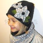 dziecko-czapka 74- komin opaska komplet, granatowa z szarymi kwiatami w biale kropki grochy, retro kwiatki-02