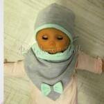 dziecko-czapka 74- szara miętowa z kokardka pastelowa niemowleca z troczkami, chustka komplet -07