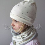 dziecko-czapka 75- komin opaska komplet, kremowa ecru w szare gwiazdki retro kwiat-02