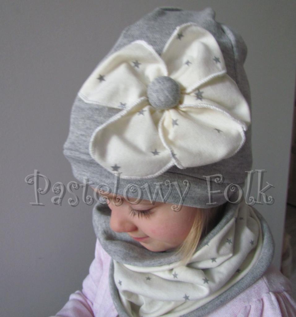 dziecko-czapka 75- komin opaska komplet, kremowa ecru w szare gwiazdki retro kwiat-04