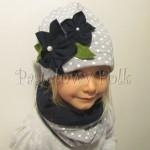 dziecko-czapka 75- komin opaska komplet, szara w biale kropki grochy z granatowymi kwiatami, retro kwiatki-01
