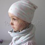 dziecko-czapka 76- komin opaska komplet, biała ecru w różowe kropki grochy szara-01