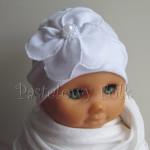 dziecko-czapka 78- biała ecru do chrzru, roczek, chrzest kwiat retro i perełki-02