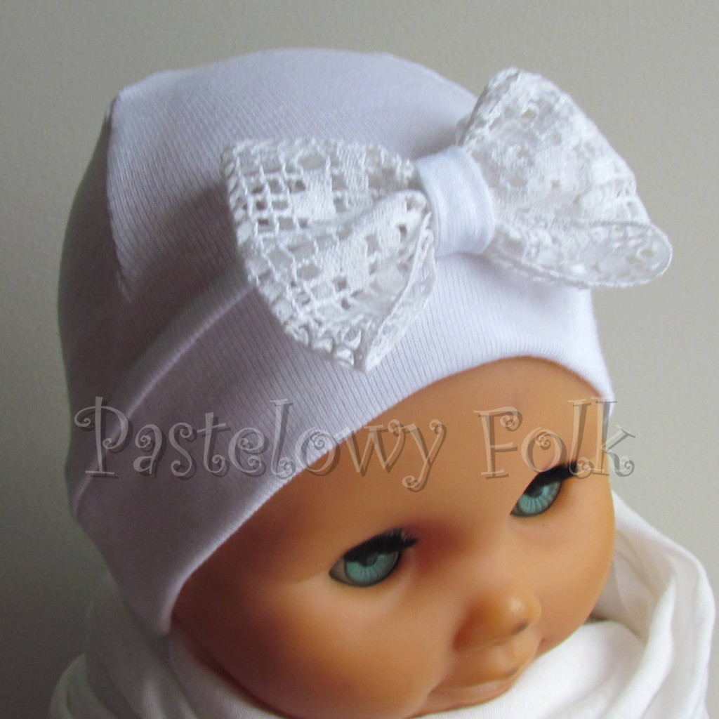 dziecko-czapka 80- biała ecru do chrzru, roczek, chrzest kokardka -02