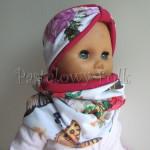 dziecko-czapka 81- ciemnorozowa karminowa dwustronna kolorowa, biala w kwiaty motyle, komplet komin -04