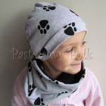 dziecko-czapka 98-dzianinowa szara w czarne lapki, komplet komin-02