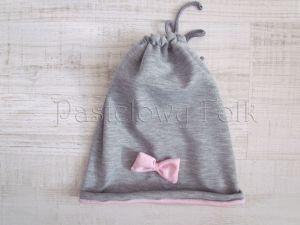 dziecko-czapka dla dziewczynki 06-retro pastelowa szara różowa dzianinowa wiosenna jesienna zimowa czapeczka komin opaska kokardka-01