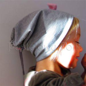 dziecko-czapka dla dziewczynki 06-retro pastelowa szara różowa dzianinowa wiosenna jesienna zimowa czapeczka komin opaska kokardka-02