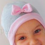 dziecko-czapka dla dziewczynki 06-retro pastelowa szara różowa dzianinowa wiosenna jesienna zimowa czapeczka komin opaska kokardka-03 miniatura