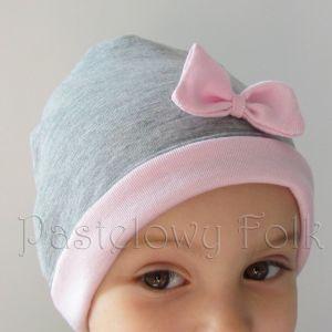 dziecko-czapka dla dziewczynki 06-retro pastelowa szara różowa dzianinowa wiosenna jesienna zimowa czapeczka komin opaska kokardka-04