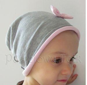 dziecko-czapka dla dziewczynki 06-retro pastelowa szara różowa dzianinowa wiosenna jesienna zimowa czapeczka komin opaska kokardka-05