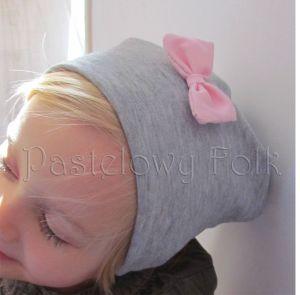 dziecko-czapka dla dziewczynki 06-retro pastelowa szara różowa dzianinowa wiosenna jesienna zimowa czapeczka komin opaska kokardka-07