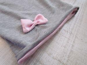 dziecko-czapka dla dziewczynki 06-retro pastelowa szara różowa dzianinowa wiosenna jesienna zimowa czapeczka komin opaska kokardka-08