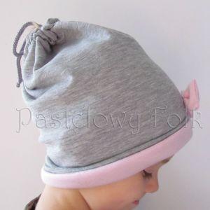 dziecko-czapka dla dziewczynki 06-retro pastelowa szara różowa dzianinowa wiosenna jesienna zimowa czapeczka komin opaska kokardka-09