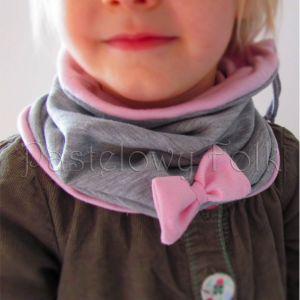dziecko-czapka dla dziewczynki 06-retro pastelowa szara różowa dzianinowa wiosenna jesienna zimowa czapeczka komin opaska kokardka-11