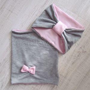 dziecko-czapka dla dziewczynki 06-retro pastelowa szara różowa dzianinowa wiosenna jesienna zimowa czapeczka komin opaska kokardka-12
