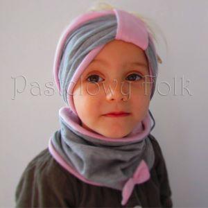 dziecko-czapka dla dziewczynki 06-retro pastelowa szara różowa dzianinowa wiosenna jesienna zimowa czapeczka komin opaska kokardka-13