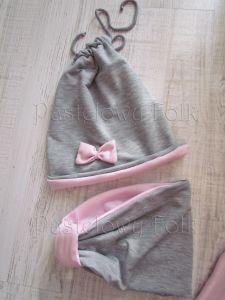 dziecko-czapka dla dziewczynki 06-retro pastelowa szara różowa dzianinowa wiosenna jesienna zimowa czapeczka komin opaska kokardka-14