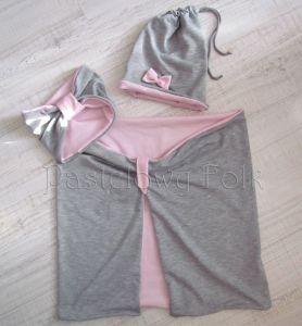 dziecko-czapka dla dziewczynki 06-retro pastelowa szara różowa dzianinowa wiosenna jesienna zimowa czapeczka komin opaska kokardka-15