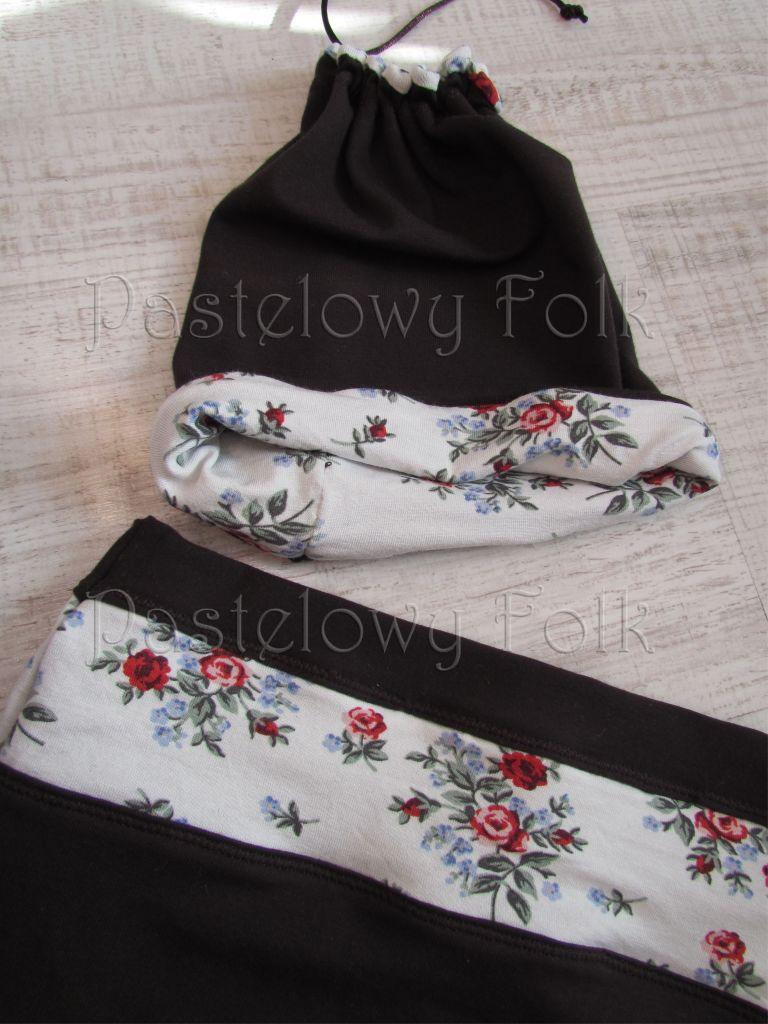 dziecko-czapka dla dziewczynki 08-retro folk biała brązowa czekoladowa dzianinowa wiosenna jesienna  czapeczka komin opaska kwiatuszki róże różyczki czerwone dwustronna-03