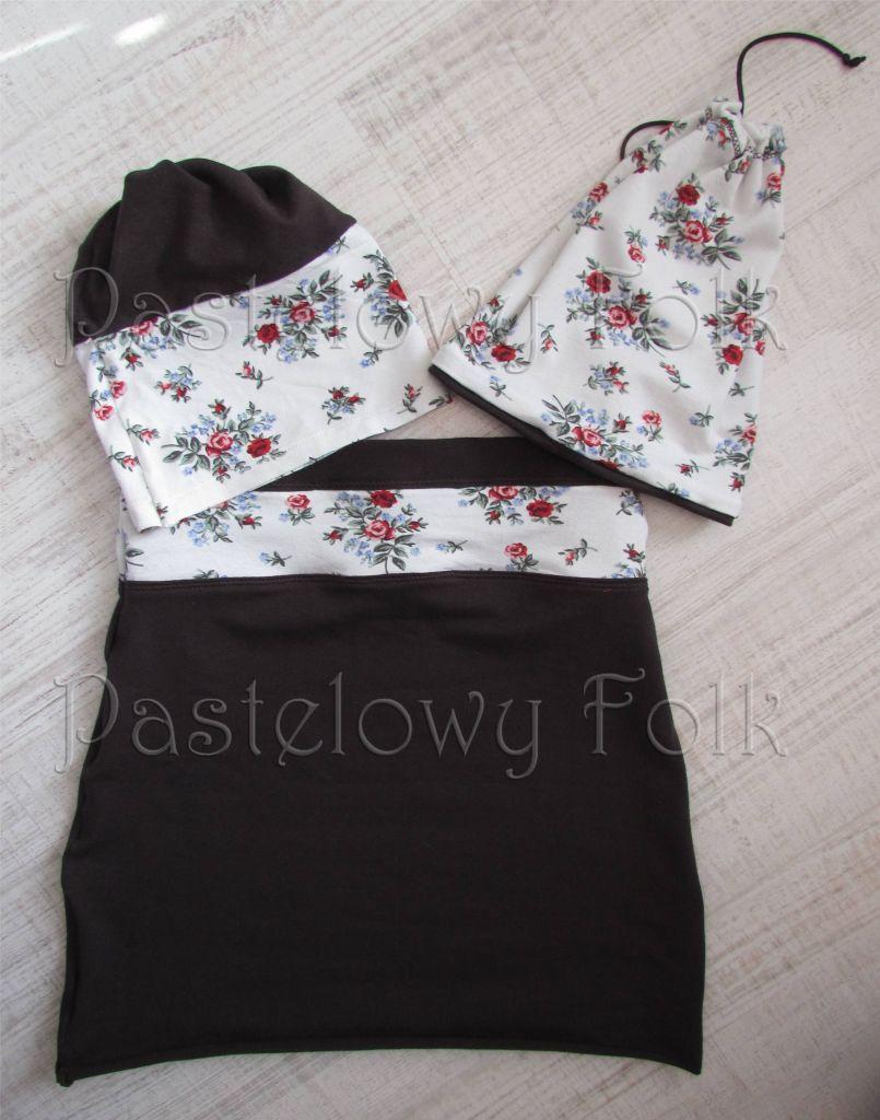 dziecko-czapka dla dziewczynki 08-retro folk biała brązowa czekoladowa dzianinowa wiosenna jesienna  czapeczka komin opaska kwiatuszki róże różyczki czerwone dwustronna komplet-05