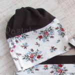 dziecko-czapka dla dziewczynki 09-retro folk biała brązowa czekoladowa dzianinowa wiosenna jesienna czapeczka komin opaska kwiatuszki róże różyczki czerwone-01