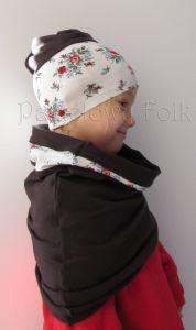 dziecko-czapka dla dziewczynki 09-retro folk biała brązowa czekoladowa dzianinowa wiosenna jesienna  czapeczka komin opaska kwiatuszki róże różyczki czerwone-02