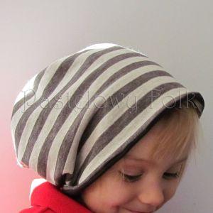 dziecko-czapka komin dla niej niego chłopca dziewczynki 11-smerfetka paski ecru brązowa czekoladowa dzianinowa wiosenna jesienna zimowa komplet-02
