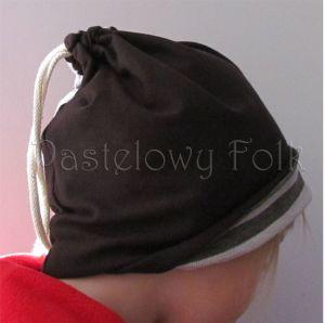 dziecko-czapka komin dla niej niego chłopca dziewczynki 11-smerfetka paski ecru brązowa czekoladowa dzianinowa wiosenna jesienna zimowa komplet-04