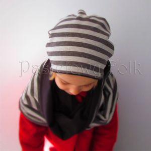dziecko-czapka komin dla niej niego chłopca dziewczynki 11-smerfetka paski ecru brązowa czekoladowa dzianinowa wiosenna jesienna zimowa komplet-08