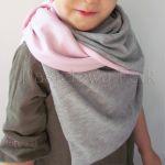 dziecko-komin dla dziewczynki 07-retro pastelowy szary różowy dzianinowy wiosenny jesienny zimowy chustka narzutka czapka opaska komplet-03 miniatura
