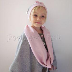 dziecko-komin dla dziewczynki 07-retro pastelowy szary różowy dzianinowy wiosenny jesienny zimowy chustka narzutka czapka opaska komplet-04