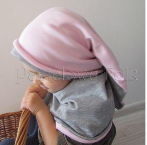 dziecko-komin dla dziewczynki 07-retro pastelowy szary różowy dzianinowy wiosenny jesienny zimowy chustka narzutka czapka opaska komplet-06