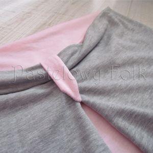 dziecko-komin dla dziewczynki 07-retro pastelowy szary różowy dzianinowy wiosenny jesienny zimowy chustka narzutka czapka opaska komplet-07