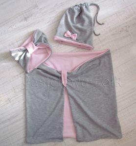 dziecko-komin dla dziewczynki 07-retro pastelowy szary różowy dzianinowy wiosenny jesienny zimowy chustka narzutka czapka opaska komplet-09