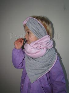 dziecko-komin dla dziewczynki 07-retro pastelowy szary różowy dzianinowy wiosenny jesienny zimowy chustka narzutka czapka opaska komplet-10