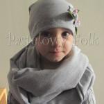 dziecko-komin dla dziewczynki 15-retro szary dzianinowy, komplet czapeczka, kwiatki kwiat -01
