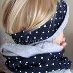 dziecko-komin dla dziewczynki 16-retro szary granatowy w kropki białe, dwustronny, dzianinowy, komplet czapka-02