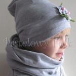 dziecko-komin dla dziewczynki 16-retro szary granatowy w kropki białe, dwustronny, dzianinowy, komplet czapka-03