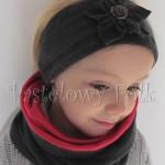 dziecko-komin dla dziewczynki 18-retro grafitowy, czerwony, ciemnoszary dzianinowy -01