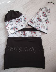 dziecko-komin narzutka dla dziewczynki 10-retro folk biała brązowa czekoladowa dzianinowa wiosenna jesienna  kwiatuszki róże różyczki czerwone komplet-04