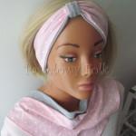 dziecko-opaska 118-jasnorozowa w biale kropeczki szara dwuwarstwowa rozowa, chustka-01