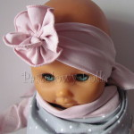 dziecko-opaska 129- brudny roz z kwiatkiem marszczonym, rozowy, chustka-02