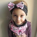 dziecko-opaska 131- grafitowa z rozowa duza kokarda Alice Alicja w krainie czarow dziewczynka, komplet chustka -01