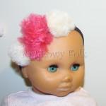 dziecko-opaska 139-czarna gumowa z pomponami rozowy ecru-01